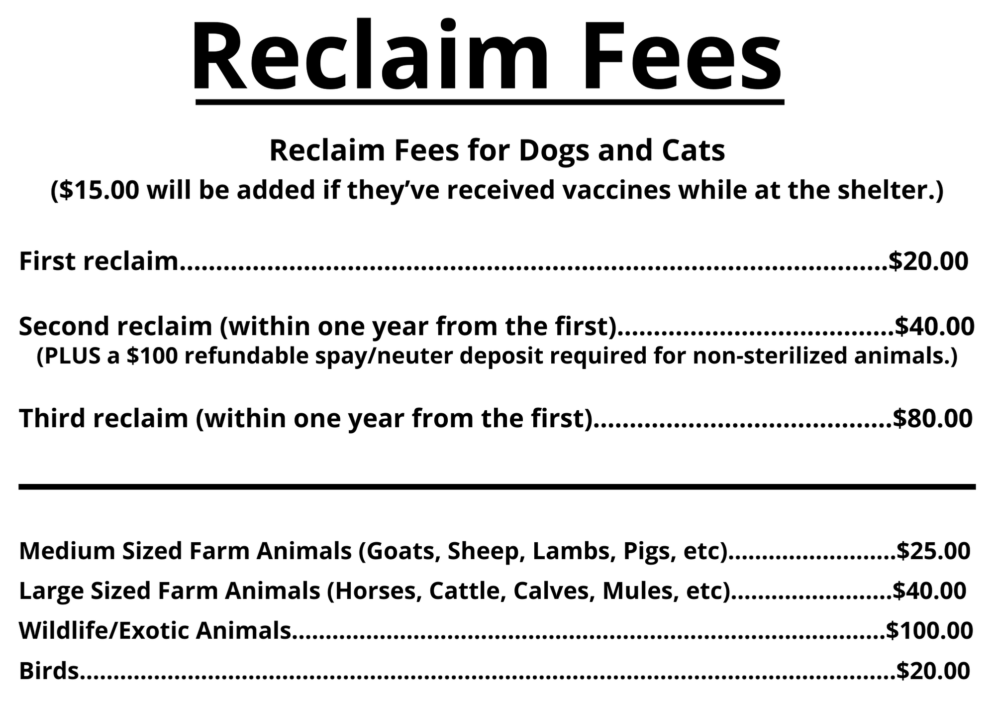 reclaim fees